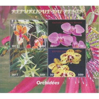 Bénin - Orchidées - Feuillet de 2011