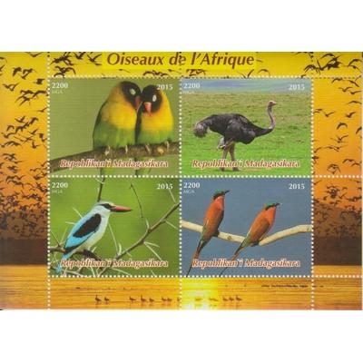 Madagascar - Oiseaux - Feuillet de 2015