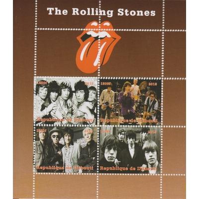 Djibouti - Rolling Stones - Feuillet de 4 valeurs