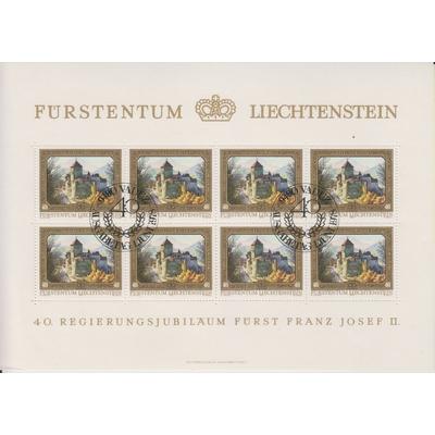 Liechtenstein - 40 ans - Feuillet de 8 oblitéré - Cote €5.60