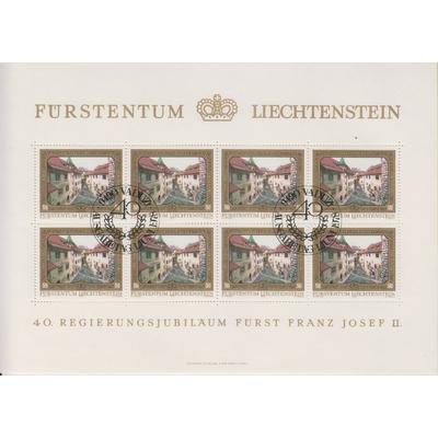 Liechtenstein - 40 ans - Feuillet de 8 oblitéré - Cote €6.40