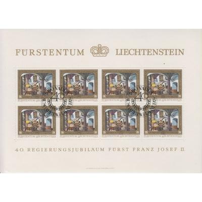 Liechtenstein - 40 ans - Feuillet de 8 oblitéré - Cote €9.60