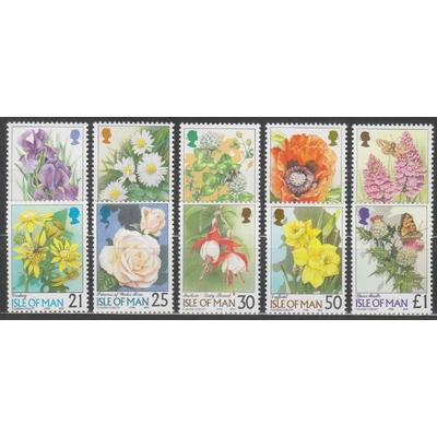 Ile de Man - Fleurs - yt.787/91+813/17 neufs ** - Cote €11
