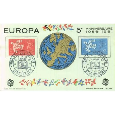 France - Carte Europa de 1961 avec cachets spéciaux