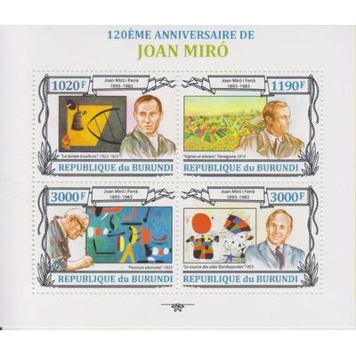 Burundi - Tableaux de Miro - Feuillet neuf **