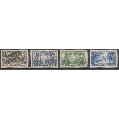 Guinée - Sélection de valeurs de 1938-43 neuves ** - Cote €5.50