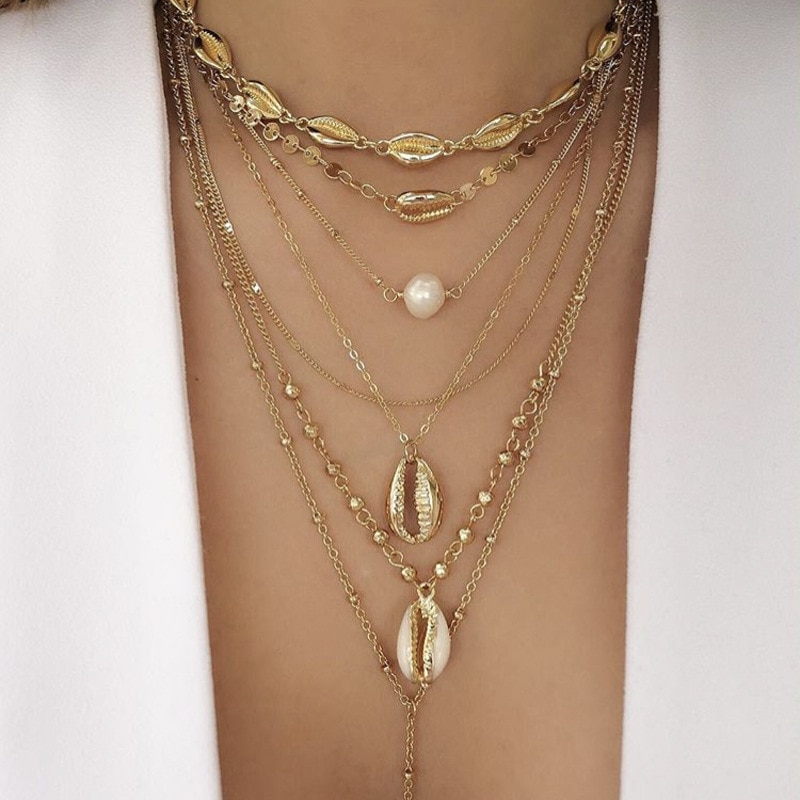 collier perle coquillage