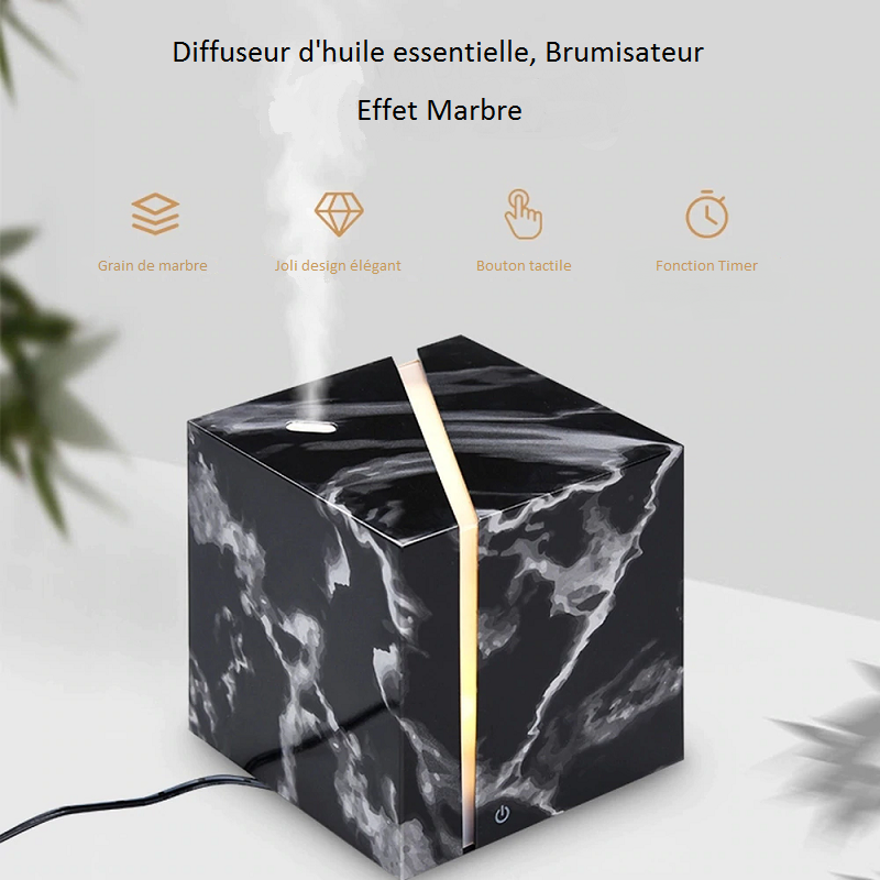 Diffuseur d'huiles essentielles, Brumisateur Cube Effet Marbre