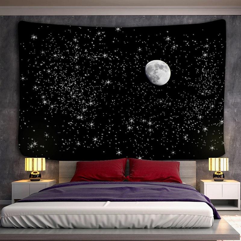 Tenture Murale Lune Gibbeuse et Ciel Étoilé