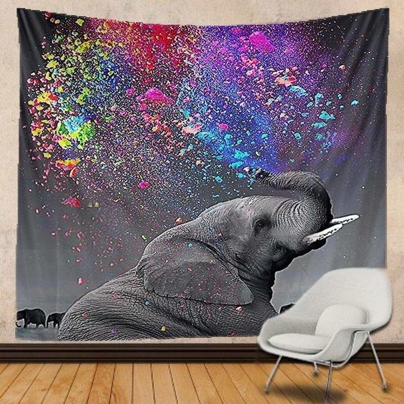 Tenture Murale Éléphant couché et Gouttes d\'eau Colorées