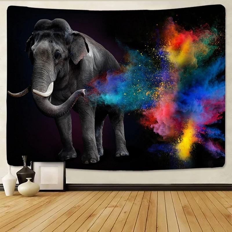 Tenture Murale Éléphant debout et Gouttes d\'eau Colorées