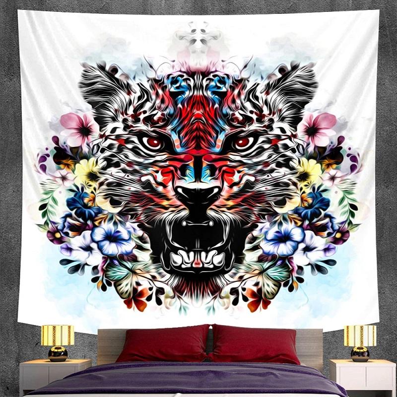 Tenture Murale Tête de Tigre et Fleurs