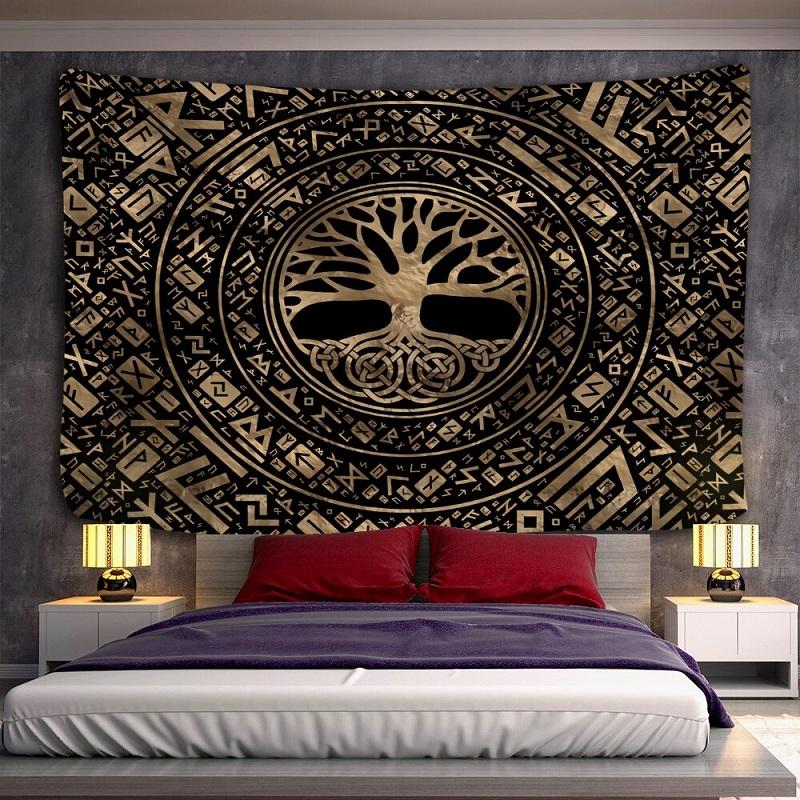 tenture murale zen arbre et symboles