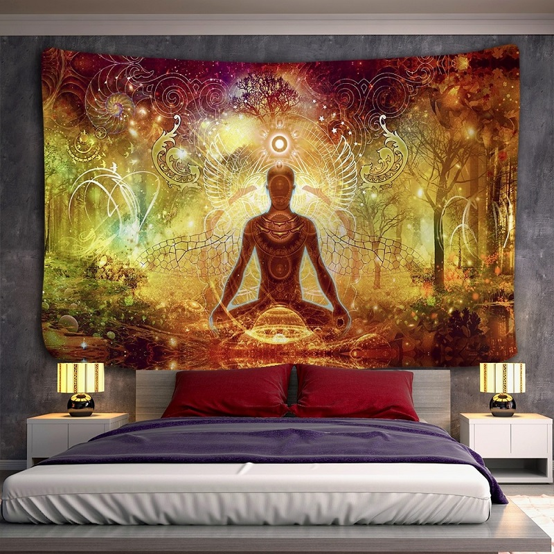 Tenture Murale Yogi en Méditation Monde Onirique