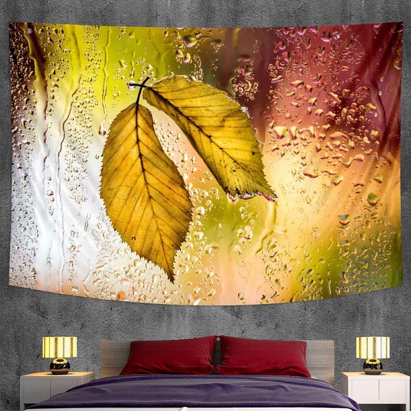 Tenture Murale Feuilles d\'Arbre sous la Pluie
