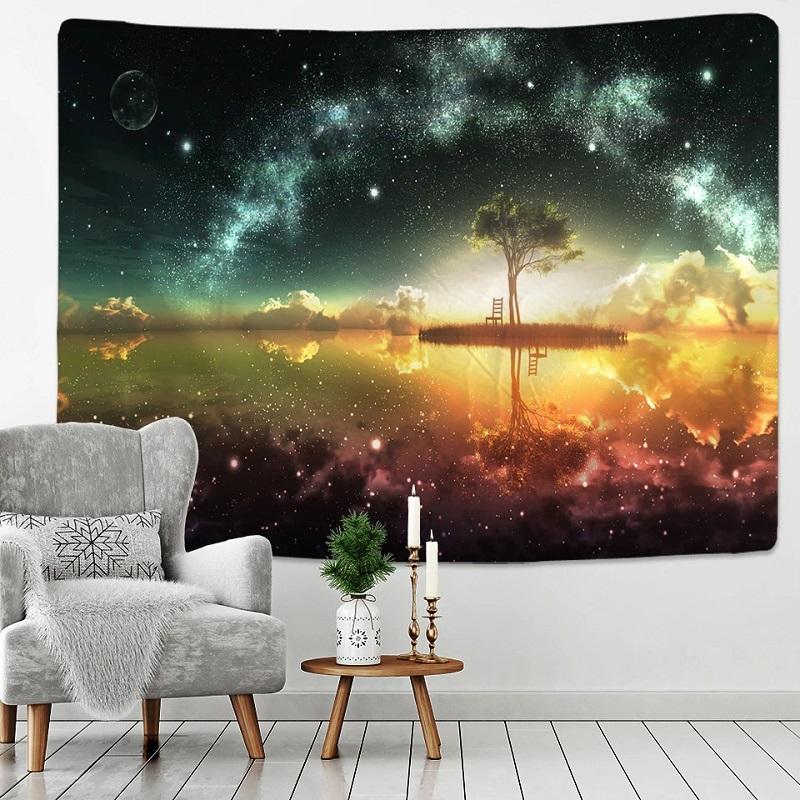 Tenture Murale Arbre et Voie Lactée