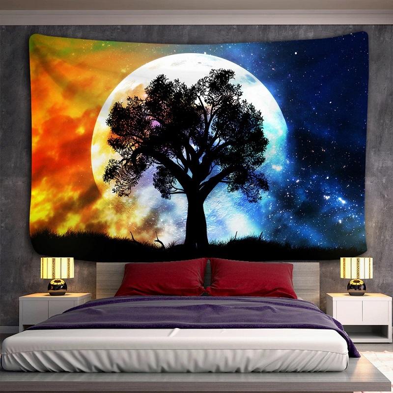 Tenture Murale Arbre et Pleine Lune