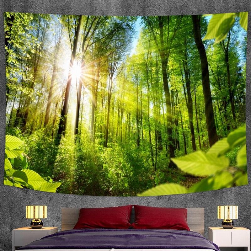 Tenture Murale Grands Arbres et Rayons de Soleil