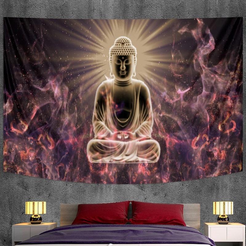Tenture Murale Bouddha Illuminé et Fractales