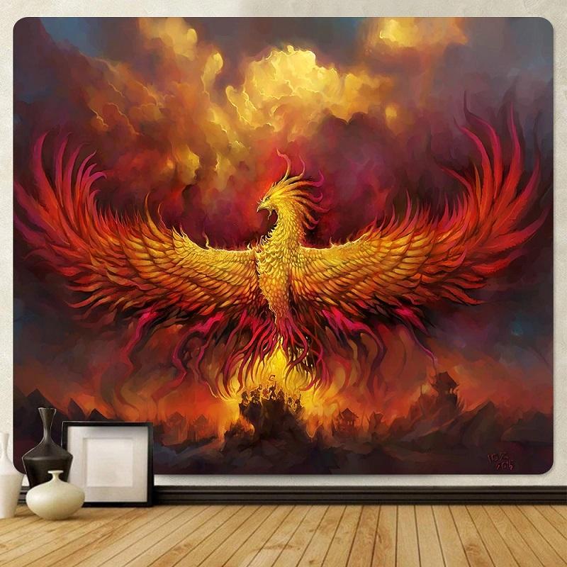 Tenture Murale Phénix dans les Flammes
