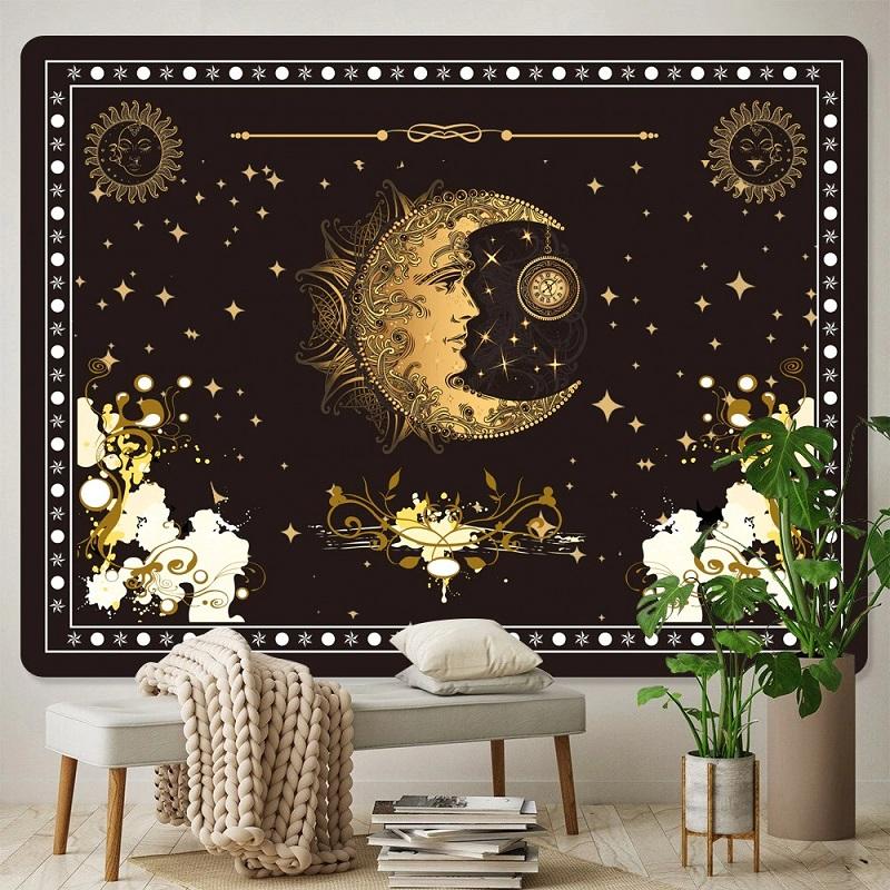 Tenture Murale Lune et Horloge sur fond d'Étoiles