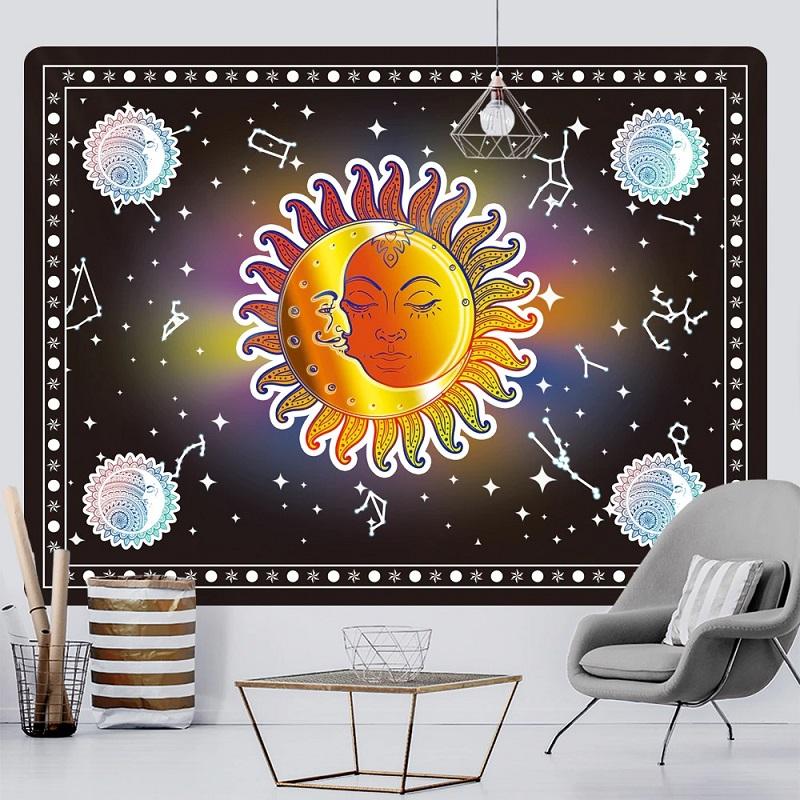 Tenture Murale Lune et Soleil sur fond de Constellations