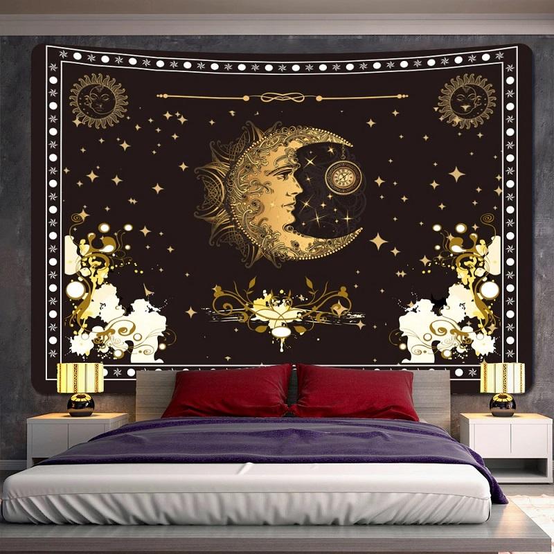 Tenture Murale Demi-Lune et Horloge fond Étoilé