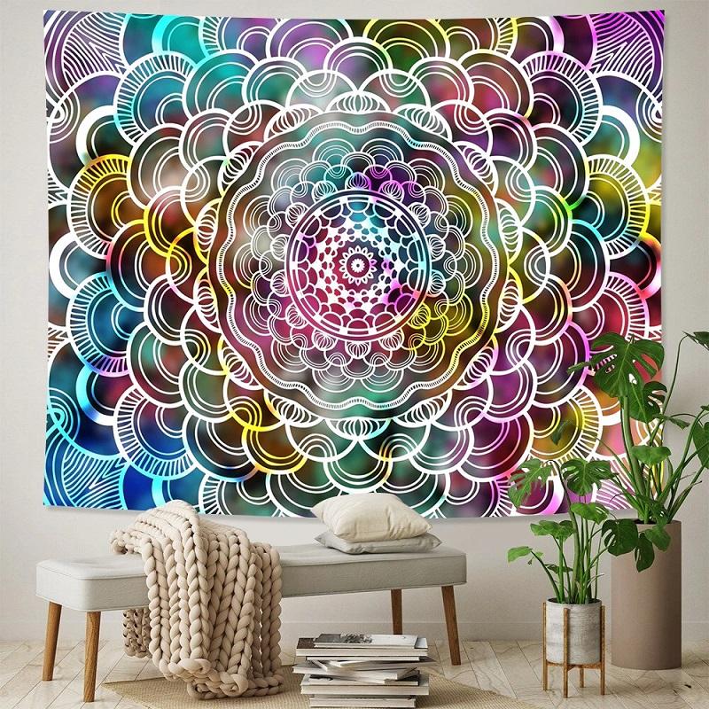 Tenture Murale Mandala Fleur de Vie Psychédélique