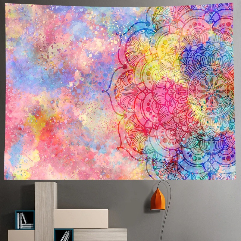 Tenture Murale Mandala Fleur de Vie fond effet Peinture