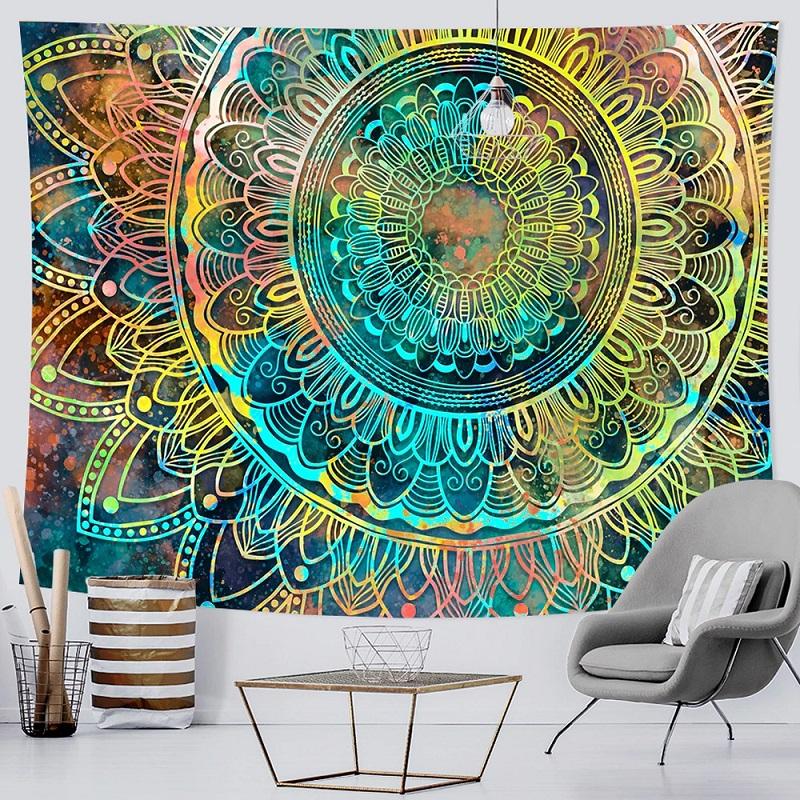 Tenture Murale Mandala Grande Fleur de vie fond Bleu et Jaune