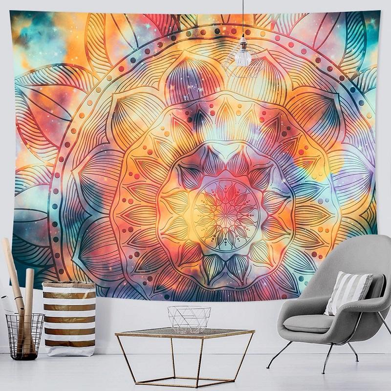 Tenture Murale Mandala Grande Fleur de Vie fond Orange et Bleu