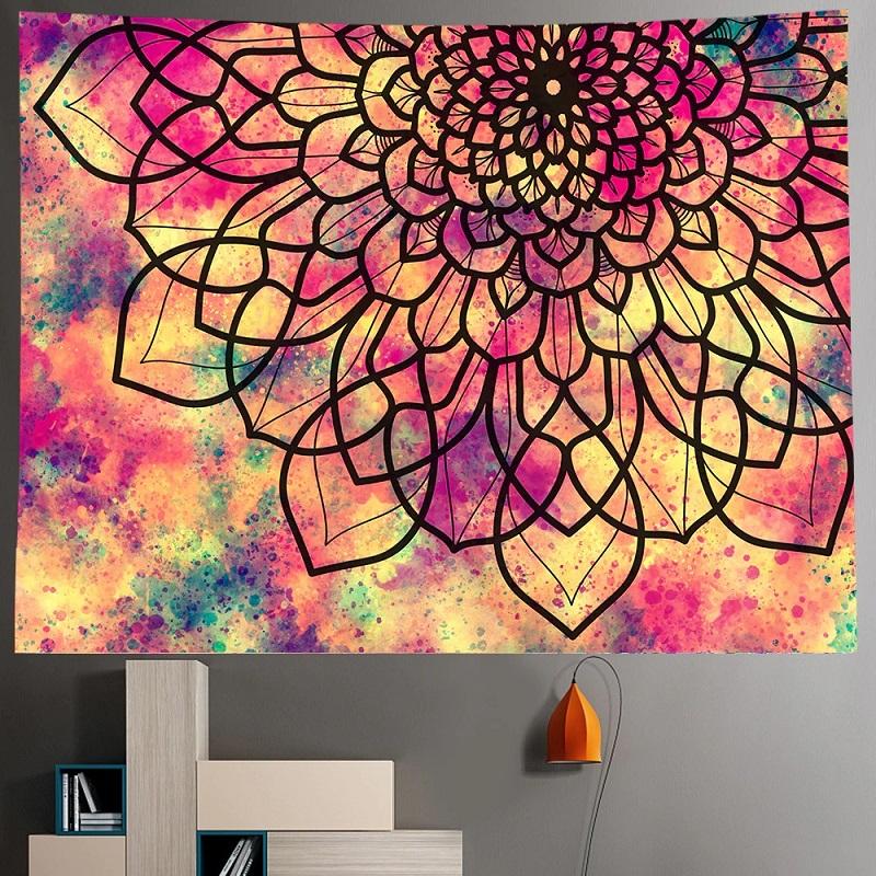 Tenture Murale Mandala Grande Fleur de Vie fond Rose et Jaune