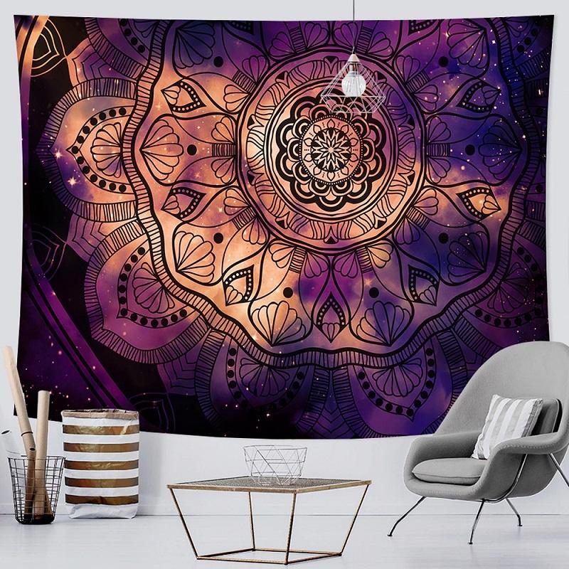 Tenture Murale Mandala Grande Fleur de Vie fond Noir et Violet