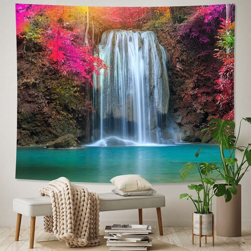 tenture décorative nature cascade