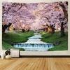 tenture murale cerisiers et rivière