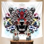 tenture murale zen tigre et fleurs