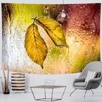 tenture murale décorative feuilles arbre pluie