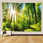 tenture décorative forêt arbres soleil