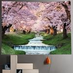 tapisserie murale arbres cerisiers rivière