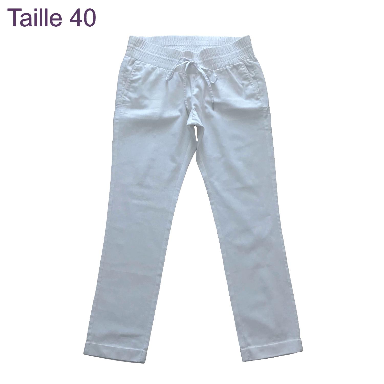 meilleurs tissus remise spéciale de produits de commodité Pantalon de grossesse en lin blanc