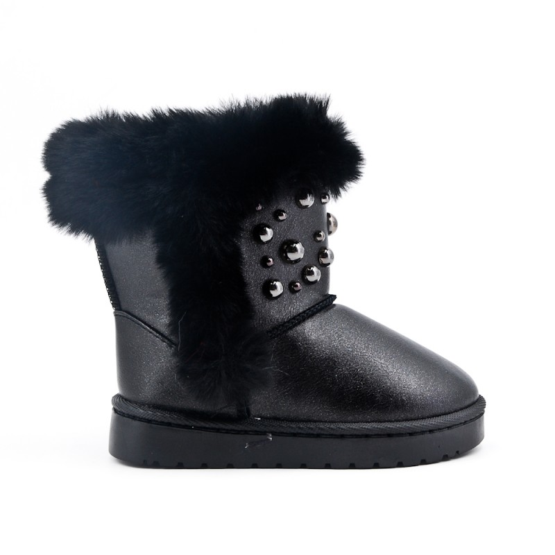 BOTTINES FOUREES NOIRES PERLES