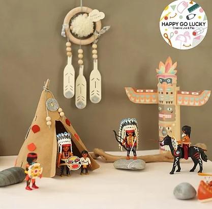 Kit créatif : Tipi d\'indiens et son totem à colorier
