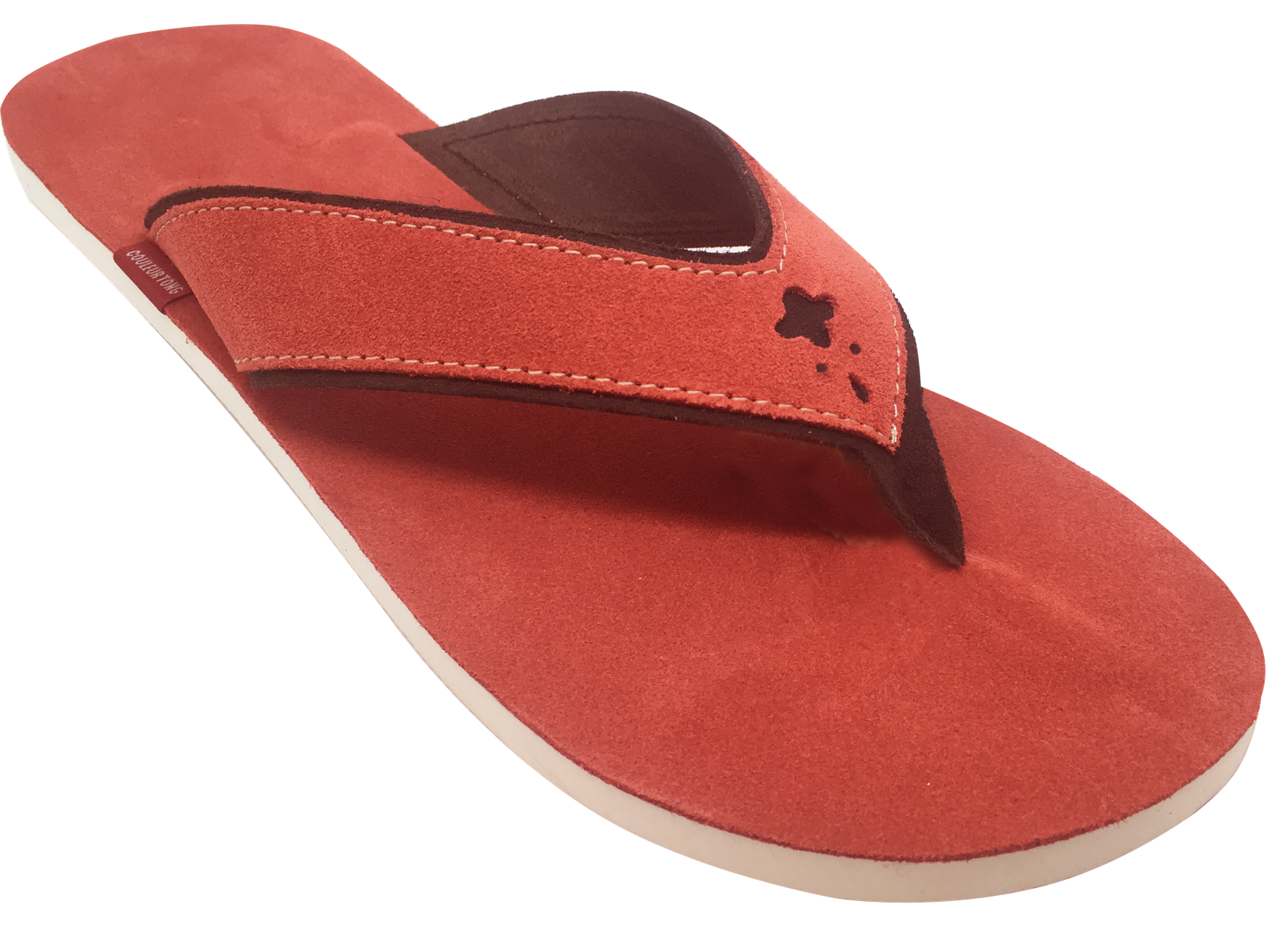 Tongs cuir velours Homme Balistra corail