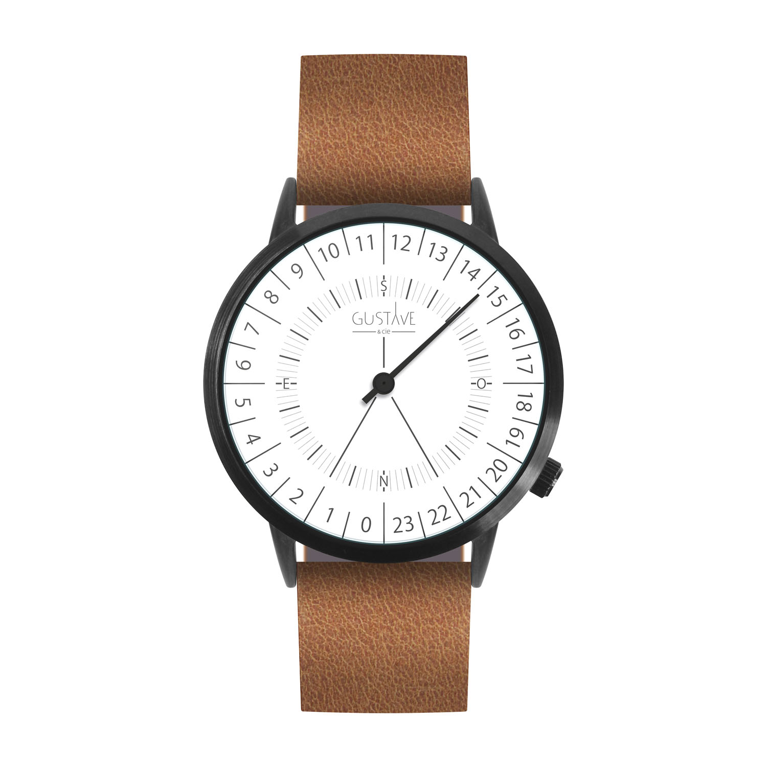 Montre mixte 24H bracelet cuir marron
