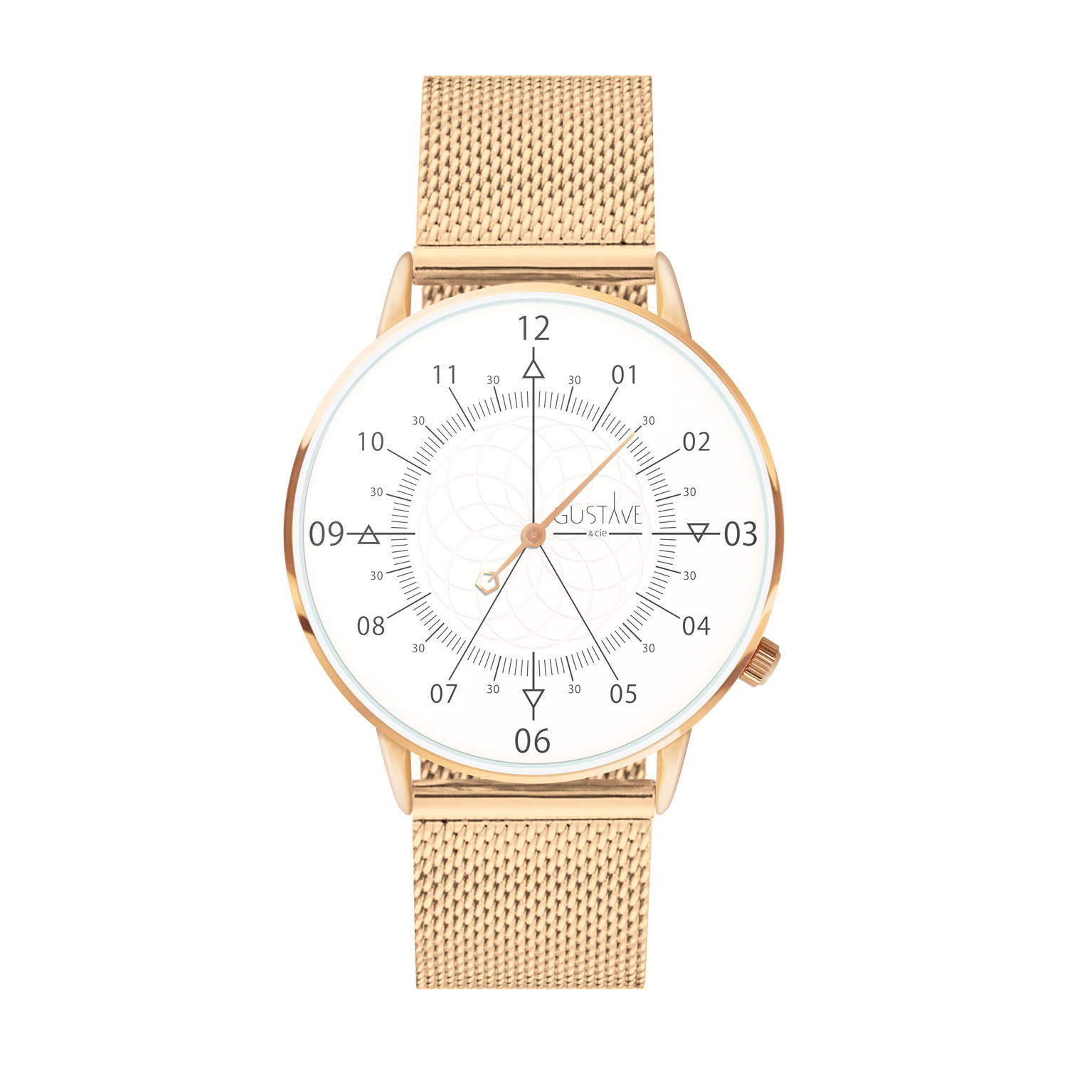 Montre mixte 12H Blanc & Or rose