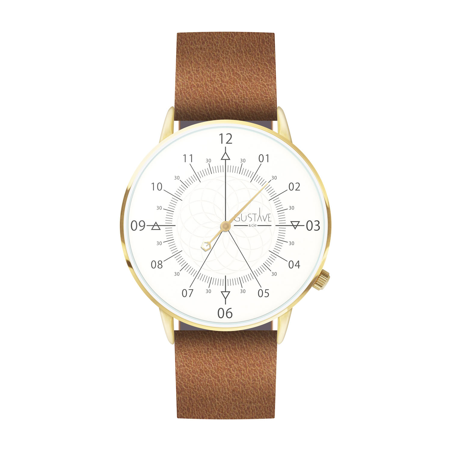 Montre mixte 12H Blanc & Or