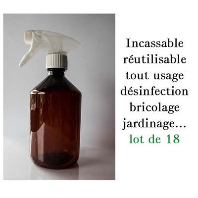 Lot de 18 vaporisateurs de 300 ml réutilisable incassable