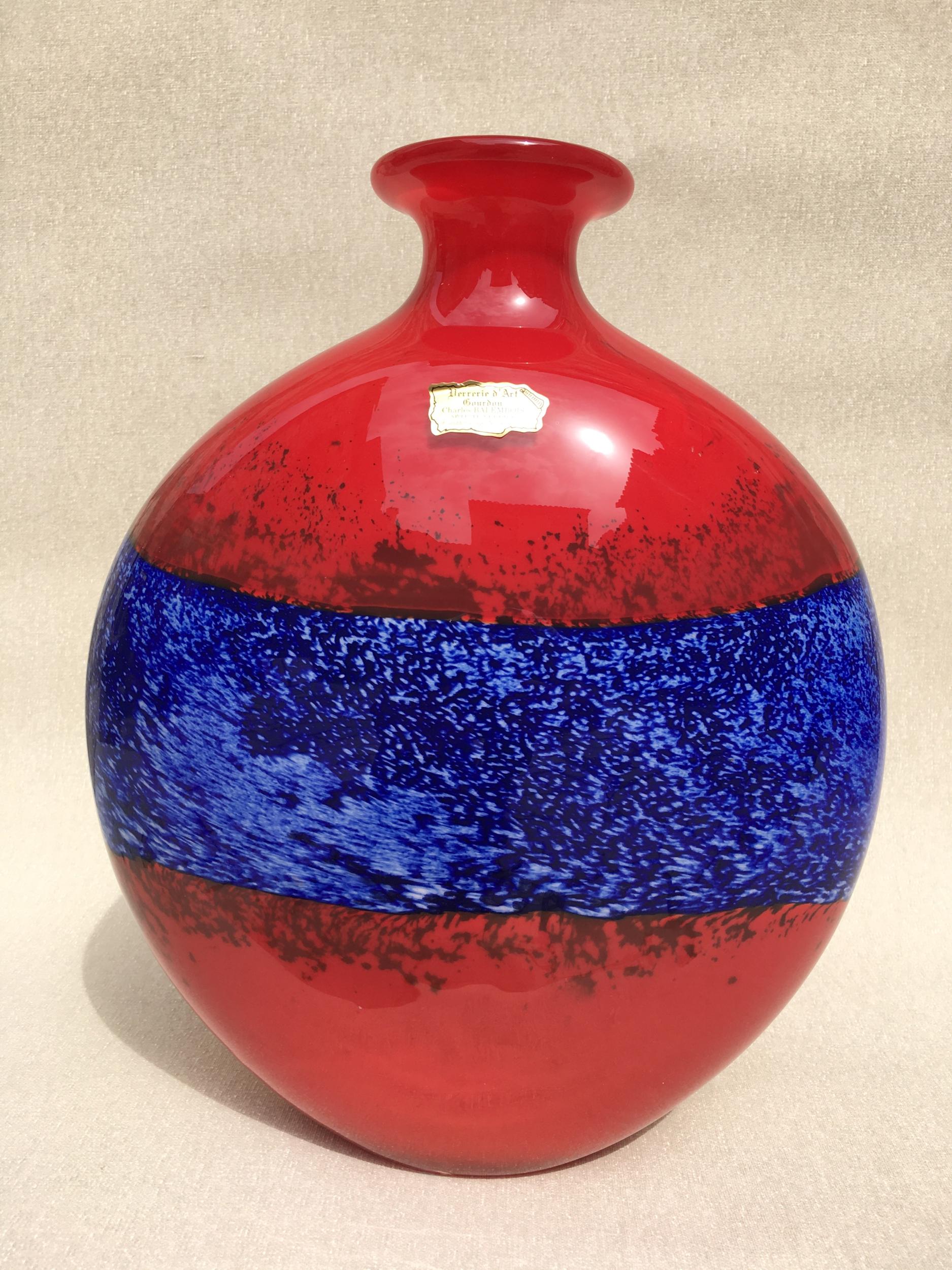 Vase Flacon en pâte de verre