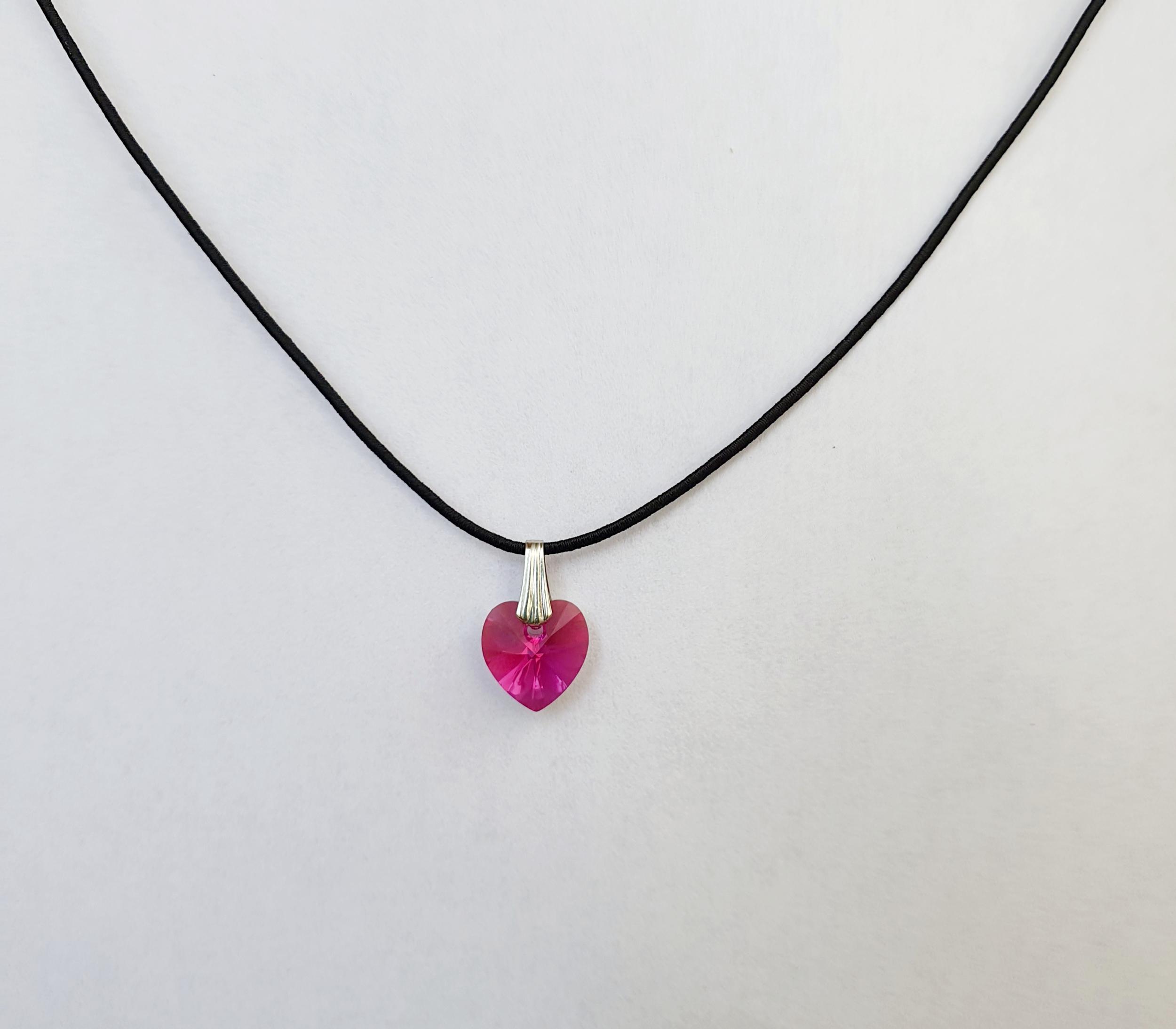 Coeur en Cristal Swarovski Fushia