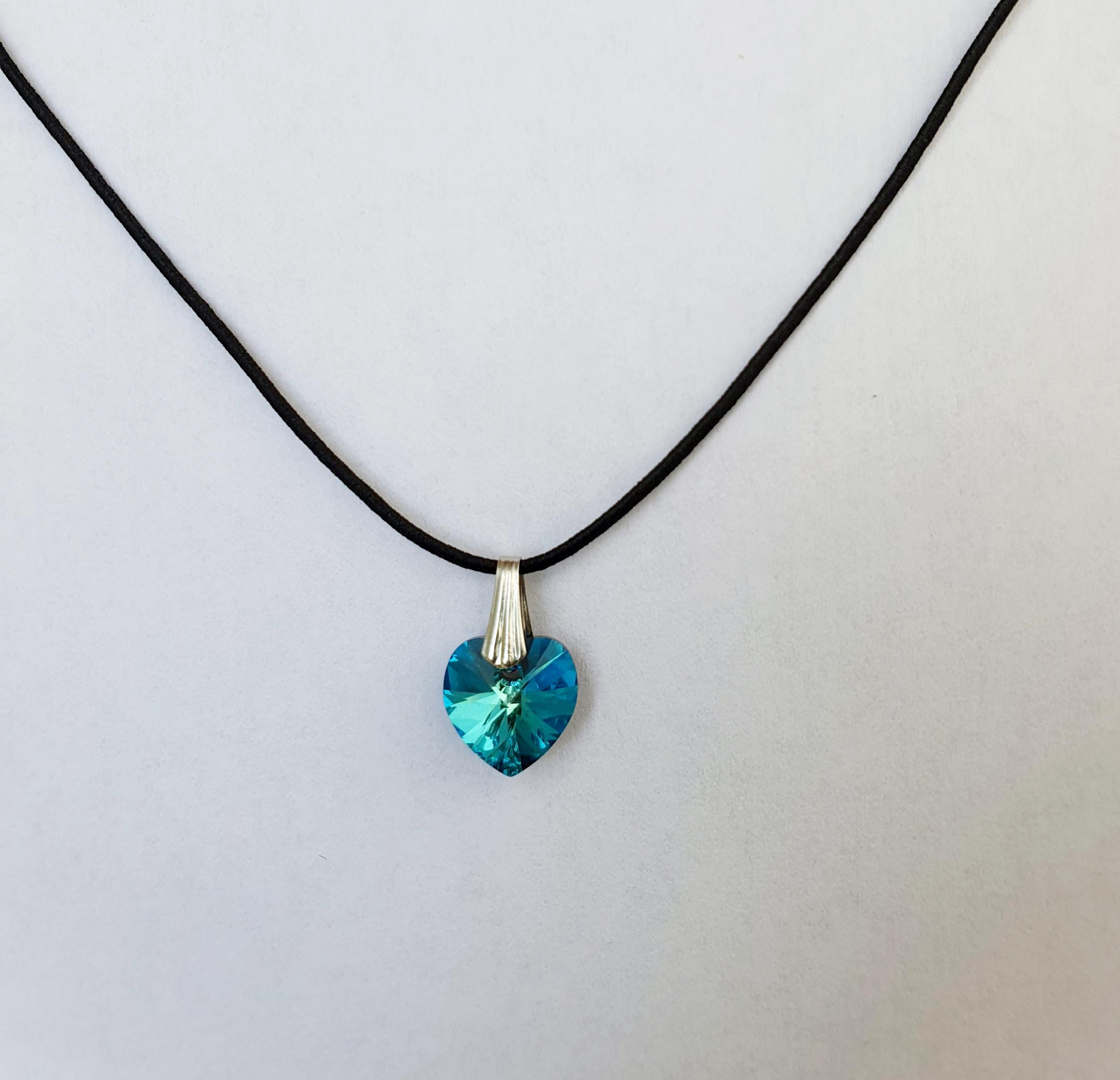 Coeur en Cristal Swarovski vert/bleu